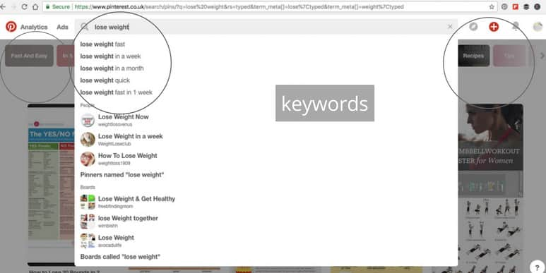 Finding Pinterest keywords