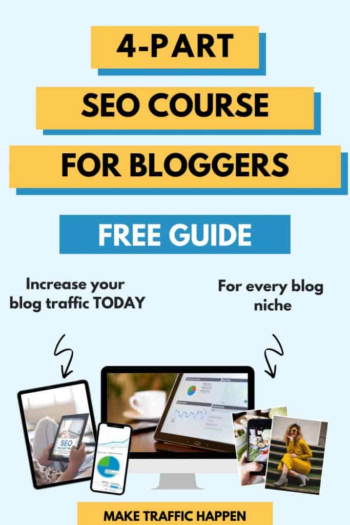 The Make Traffic Happen free 4-part SEO for beginners course teaches bloggers and niche site owners how to rank on page 1 of Google and increase organic traffic to their websites. More traffic means better brand awareness, more paid opportunities and monetisation streams! Click to find out our free SEO tips and tricks with our proven SEO strategy.