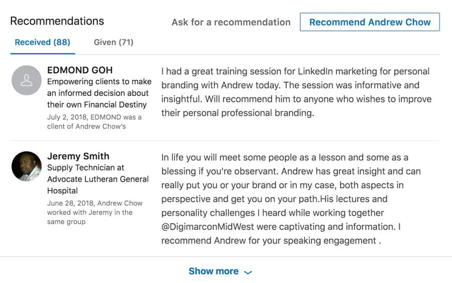 Recommendations Example LinkedIn