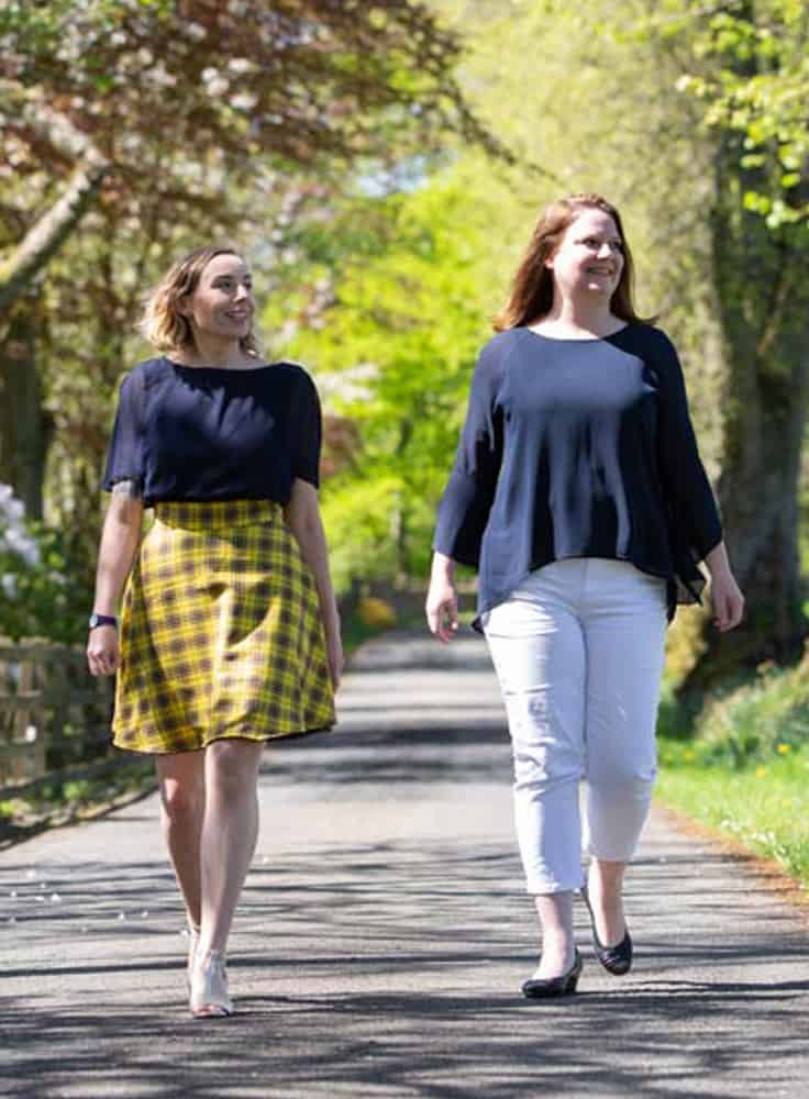 Gemma and Laura walking